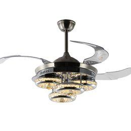 K9 Cristallo invisibile LED Fan Plafoniere Lampade 110V 220V foglia acrilica Led Kit ventilatore a soffitto con telecomando per soggiorno da