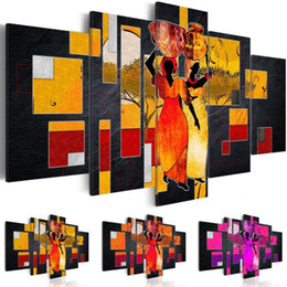 afrikanische frau leinwand malerei Rabatt 5 Panel Leinwand Wand Abstrakte Afrikanische Frauen Tragen Wasser Wüste Landschaft Leinwand Malerei Frameless Wandkunst Malerei Wohnzimmer Dekor, Cho