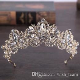 2019 chapéus verdes do fedora 2017 New Barroco moda de luxo Crystal Crown nupcial Tiaras Bling Bling ouro Tiaras para Mulheres Acessórios de cabelo da noiva do casamento