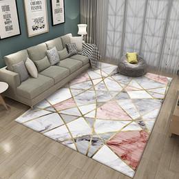 tapetes para quarto de crianças Desconto Yfashion simples moderno padrão geométrico Impressão Tapete Tapete para Sala Quarto Sofá crianças brincam