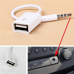 Leitor de cassetes estéreo on-line-New 3,5 mm macho AUX de áudio Plug Jack USB Feminino Converter Cord envio Cable Car Car MP3 Acessórios DHL grátis