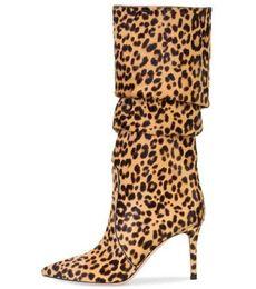 tacones altos de estampado leopardo blanco Rebajas Envío de la gota Mujeres de la marca Impresiones de animales Marrón Blanco Rosa Leopardo Talones delgados Punta puntiaguda Rodilla Alta Botas de talla grande