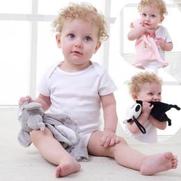 brinquedos de pelúcia de pelúcia por atacado Desconto Calmante Toalha de recém-nascido com forma animal para toalha de bebê suave educacionais do bebê Plush Toys Panda Elephant Coelho