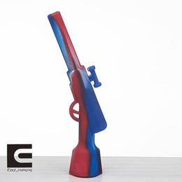 Canada Pipe à main en silicone de style pistolet avec un bol en fer Pipe à eau en silicone de qualité alimentaire pour fumer du narguilé particulier Offre
