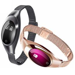 2019 relógios femininos luxuosos Z18 banda Inteligente Pressão Arterial Monitor de Freqüência Cardíaca Pedômetro pulseira bluetooth Para IOS Android Mulheres Presente de Luxo Relógio de Vestido Relógios relógios femininos luxuosos barato