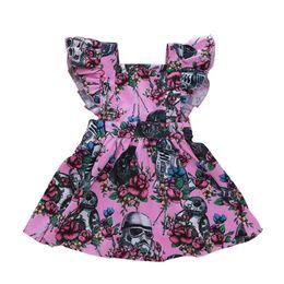 Vestito dal bambino del collare del fiore online-Floreale Pig Baby Dress Kids Girl Robot Casco Flower Stampa Bow Ruffle Collare quadrato Little Fly Sleeve A-line Dress