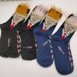 Presidente Donald Trump calzini Trump Ritratto unisex divertente Stampa adulti Crew Socks con 3D artificiale dei capelli finti per Natale Carnival Party 4 Stile da