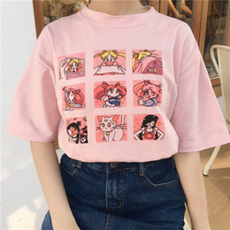 Ulzzang t shirts on-line-Summer Women's Fashion Large Size Casual Harajuku Cartoon Letters ulzzang Sailor Moon Short Sleeve Funny Half T-Shirt BLWG02