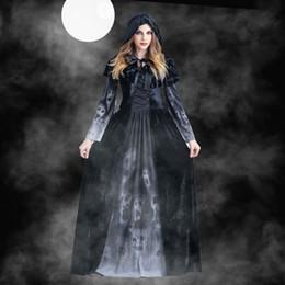 женские костюмы ужасов Скидка Женщины Хэллоуин Косплей Vintage ведьма с длинным рукавом платье макси женщин Horror череп вампира Косплей платье платья выпускного вечера