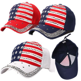 2021 bling kugelkappen Donald Trump 2020 Rivet Ball Cap Diamant Bling Präsident justierbarer Hut Hip Hop Punk Snapbacks Star USA Flag Strass Schirmmützen C71101 um