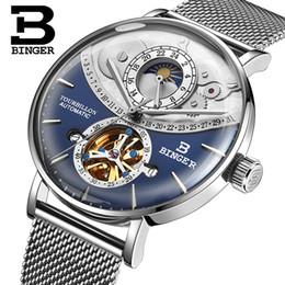 2019 механические часы Швейцария Автоматические Часы Binger Skeleton Механические Мужские Часы Full Steel Сапфир Relogio Masculino Водонепроницаемый Синий C19041101 дешево механические часы