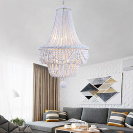 Perles de lampe cru en Ligne-Modern loft vintage E27 led hanging lamps blue wooden beads pendant lamps industrial decor lights for living room hotel kitchen