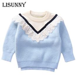 Baumwoll-kantenspitze online-2019 Herbst-Winter-Baby-Pullover Prinzessin Pullover Nerz Samt stricken Kinderkleidung Mode Spitzeränder Kinder warmer Mantel 1-6Y