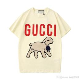 2020 camisas de verão para meninas 2020 Primavera / Verão T-shirt do cordeiro T-shirt da menina bordaram a letra sequin um cordeiro casuais rodada de mangas curtas blusa APP88 camisas de verão para meninas barato
