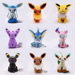 Juguete suave eevee online-8 pulgadas familia Pokémons Eevee juguetes de peluche de felpa suave máquina de muñeca linda Grab para los niños de cumpleaños mejor regalo de alta calidad