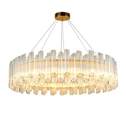 Luce pendente registrabile online-Nuovo design rotondo di illuminazione lampadario di cristallo moderno pendente lampadari camera da letto oro salotto luce della stanza regolabili lampade a sospensione a led