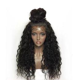 бразильские волосы китайский хлопок Скидка Вьющиеся кружева перед парики волос для женщин черный цвет бразильский парик фронта шнурка сорвал полный конец кружева перед парики