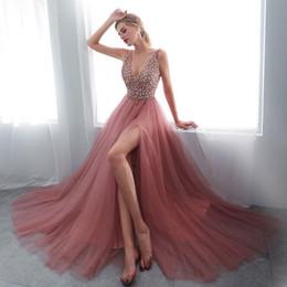 2019 vestidos de noite de alta costura Moda V neck Top Jewel Frisado Vestidos de Baile Longo Inchado Cristal Até O Chão Vestidos de Baile Vestidos de Couture Keyhole Voltar Desgaste da Noite Festa Real vestidos de noite de alta costura barato