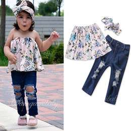 Ins Summer new arrived baby girl clothes Girls Outfits 3pcs set Children  Suit Kids Sets printing Tops Blouse + jeans+ Headbands A1784 baby top jeans  on sale b149c6dbf
