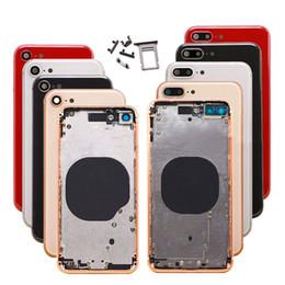 batería de la caja xperia Rebajas Cubierta trasera para iPhone 8 Plus Carcasa roja Cubierta de la batería Puerta trasera Marco intermedio Chasis Piezas con botón + SIM Tary