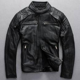 primeiro jaquetas de couro da motocicleta Desconto 2020 Top Skulls Genuine Leather Motorcycle Suit Primeira Camada de frete grátis New Men do couro Motorcycle Jacket Especial