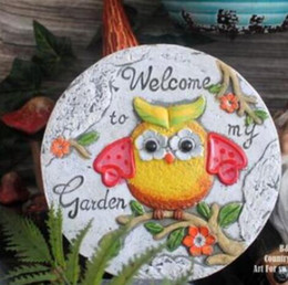 hand painted garden Promo Codes - Rural hand-painted owl small cement stepping stone garden garden decorative garden accessories stepping stone culpture statue