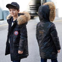 Ropa de niños grandes online-Chaqueta de invierno para niños Tops para niño grande con capucha de piel real Kurtki Zimowe Ropa de invierno para niños Invierno para niños 2018 Y18102607