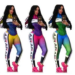 farbverlaufsgamaschen Rabatt Designer Frauen Trainingsanzug Farbverlauf Patchwork Jacke Mantel Hosen Leggings Zwei Stück Anzüge Marke Outfits Kleidung Sets Swaetsuit C82902