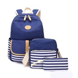 Bolsa de lona em listrado on-line-3pcs 4pcs / set Canvas Mochilas listrado Shoulder Bag Estudante Saco de livro com bolsa Stripe Patchwork Zipper Mochila sacos de armazenamento GGA3130-4