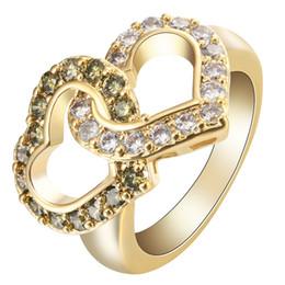 Conjunto de joyas de topacio amarillo online-14K oro amarillo al por mayor de Llenado corazón de la manera blanca del Topaz del Peridot de boda anillos fijados joyería nupcial SZ 6-10
