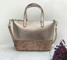 diseñador de la marca bolsos de oro rosa nuevo brillo Patchwork hombro brillante crossbody bolsas de compras bolso de mujer con correa para el hombro desde fabricantes