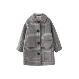 kids windproof jacket Promo Codes - Kids girl overcoat Winter new fashion Houndstooth wool coat for girls Teens autumn jacket warm long outerwear Children Windproof