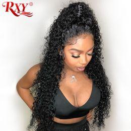 2019 12-zoll-perücke lockig Rxy Deep Wave Brasilianisches Haar 360 Lace Frontal Perücken Brasilianisches Haar Deep Curly 360 Full Lace Echthaar Perücken Pre Zupf 10-26 Zoll günstig 12-zoll-perücke lockig