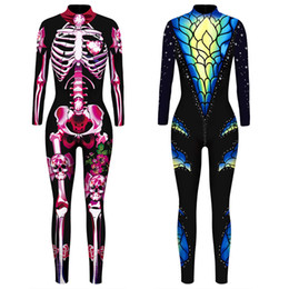 Vêtements en lycra en Ligne-Taille asiatique Femmes Sexy Girl Skull 3D cosplay costume Halloween Party Zentai Jumpsuit Vêtements catsuit Bodysuit