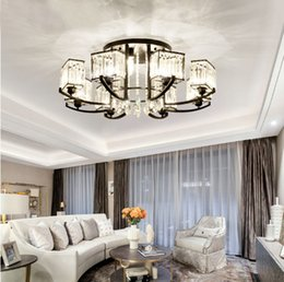 simple round crystal lighting Coupons - round ceiling light Crystal living room lamp ceiling lamp simple modern atmosphere home American restaurant led crystal lights