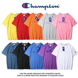 Hochwertiges 2019 Summer Men T-Shirt mit Waschmarke + gefälschte Anti-Fälschungsschnalle Champions C - großes besticktes Damen-Kurzarm-T-Shirt von Fabrikanten