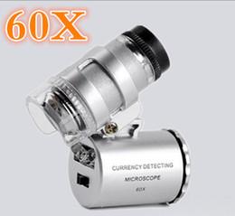 2019 lupa de jóia Venda quente 60x Microscópio Portátil Lupa Melhor Lupa Lente de Olho Levou Lupa Jóias Uv Detector De Moeda lupa de jóia barato