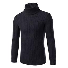 Maglioni di lino online-Modello Uomo Autunno e Inverno Lino risvolto collo alto a maniche lunghe solido del maglione della camicia di colore che basa il Knit