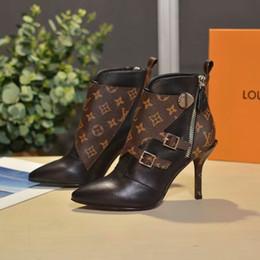 Mit Box Luxus Frauen Janet Designer Stiefeletten Schwarz Braun Leder Lady Fine Heel Kleid Boot 19ss Fashion Casual Boots