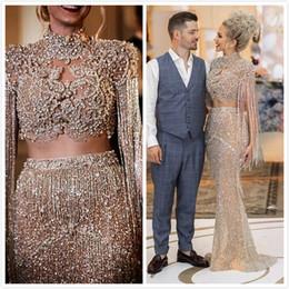 2019 vestidos de fiesta de camuflaje blanco 2019 Aso Ebi Oro árabe Lujosos Vestidos de noche sexy Cristales con cuentas Sirena Vestidos de baile Fiesta formal con lentejuelas Vestidos de segunda recepción
