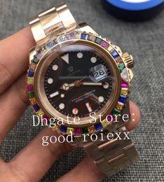 Cristais de cor do arco-íris on-line-2 Cor Mens Automatic 2813 Gem-Set Multi Color Rainbow Bezel Relógios Homens Rose Gold Bracelet Crystal 116695 Yacht Watch 116655 Relógios de pulso