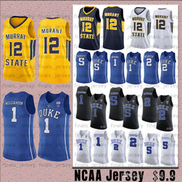 2019 duke blue devils 12 Ja Morant Murray State Racers NCAA duque Blue Devils Jersey 1 Zion Williamson 5 RJ Barrett 2 Cam Camisas de basquete avermelhado desconto duke blue devils