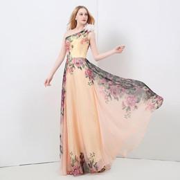 Vestidos de dama de honra impresso barato on-line-Original dama de honra vestidos de um ombro artesanal flor mangas impresso chiffon poliéster tecido zip vestido de noite barato