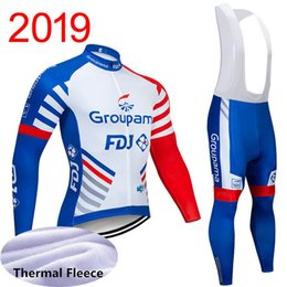 Inverno termica in pile 2019 FDJ Cycling Jersey manica lunga abbigliamento bici pantaloni con bretelle Set vestiti bicicletta Ropa Ciclismo Uniforme Sport Y030618 cheap cycling thermal jerseys da maglie termiche in bicicletta fornitori