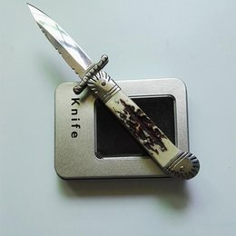 2020 facas solingen Hubertus Solingen patrono guardião 8.5 polegadas com caixa de presente Antler tático faca de defesa dobrável edc faca camping faca de caça facas desconto facas solingen