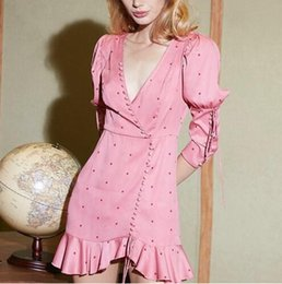 Mini vestido chiffon polka dots on-line-Vestidos de bolinhas Mulheres V Neck Puff Manga Cintura Alta Vestido Assimétrico Feminino Estilo Doce Moda 2019 Primavera