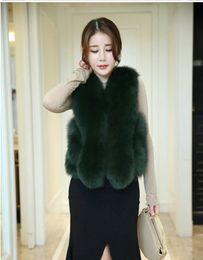 cor de colete de peles Desconto Moda inverno de Luxo Fox Fur Vest Mulheres Regular Quente Casaco Curto Colete Colete Cor Faux Outwear