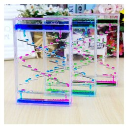 oil hourglass Promo Codes - Acrylic Hourglass Timer Two-color Oil Drop Ladder Liquid Water Drop Creative Ornaments Home Decoration Children Birthday Gifts Y19062704