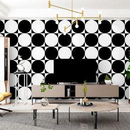 Круглая стенная панно онлайн-Custom 3d visual minimalism wallpaper black and white circle photo wall mural modern home wall decoration simple fashion sticker