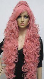 Parrucche di luka online-LL 0076 Pink Megurine Luka Vocaloid Lungo Smoke Ricci Cosplay Parrucca Piena Con Clip Coda di Cavallo